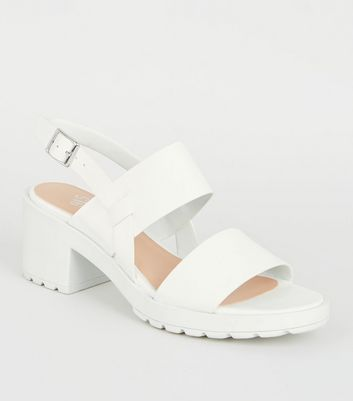 Girls White Leather-Look Chunky Block Heels
