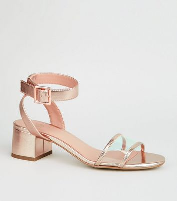 Girls Rose Gold Clear Strap Block Sandals