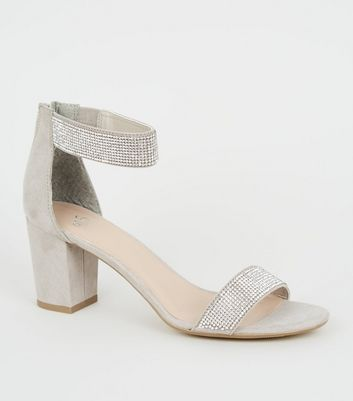Girls Grey Suedette Diamanté Strap Block Heels