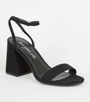 Black Suedette 2 Part Flared Block Heels