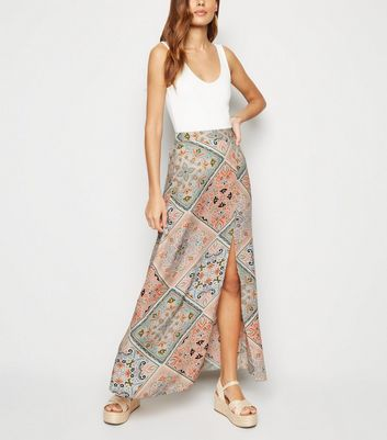 Pink Patchwork Scarf Print Maxi Skirt