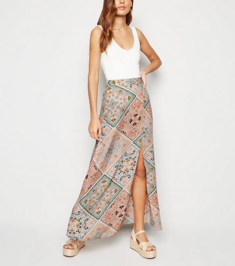 6557175aad ... Pink Patchwork Scarf Print Maxi Skirt ...