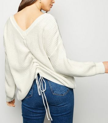 Cream V Neck Ruched Back Jumper