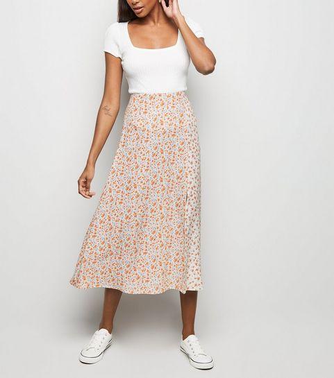 6effd8583d6 ... White Floral Side Split Midi Skirt ...