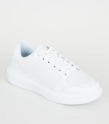 White Leather-Look Faux Snake Lace-Up Trainers