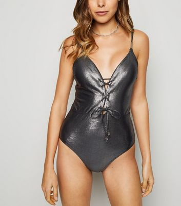 Silver High Shine Plunge Swimsuit
