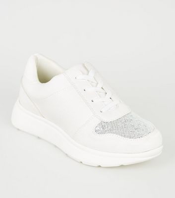 White Panelled Metallic Glitter Chunky Trainers