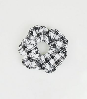 Black Check Print Scrunchie
