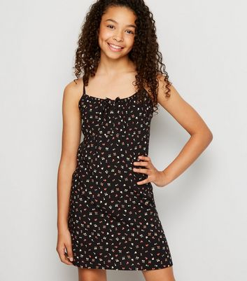 Girls Black Floral Cami Dress
