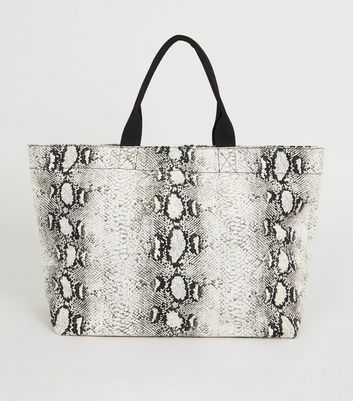 Black Snake Print Canvas Tote Bag