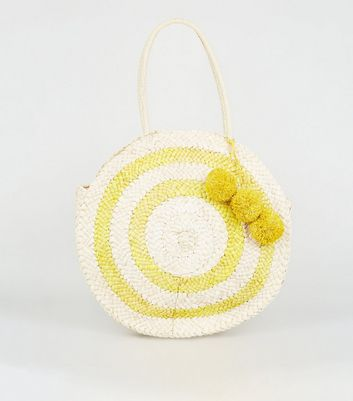 Yellow Straw Round Pom Pom Bag