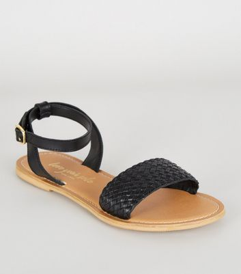 Black Leather Woven Strap 2 Part Sandals