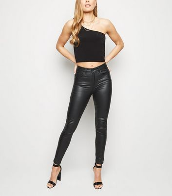 Black Leather-Look 'Lift & Shape' Skinny Jeans