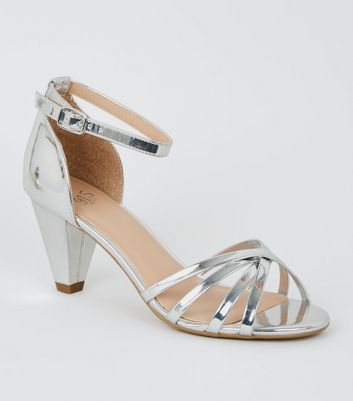 Girls Silver Metallic Strappy Sandals