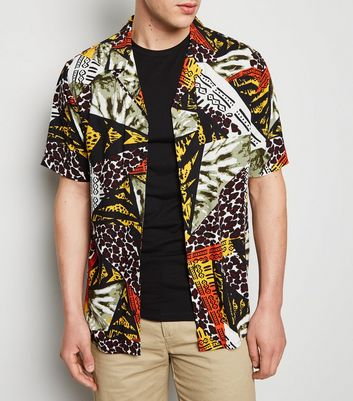 Black Patchwork Animal Print Shirt