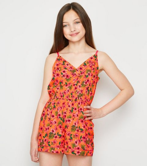 20e2ce0cbb Girls Orange Floral Piped Playsuit · Girls Orange Floral Piped Playsuit ...