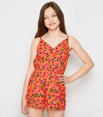 Girls Orange Floral Piped Playsuit