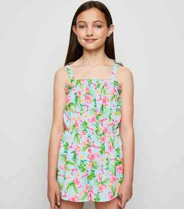 Girls Mint Green Tropical Flamingo Playsuit