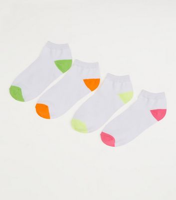 4 Pack White Neon Panel Trainer Socks