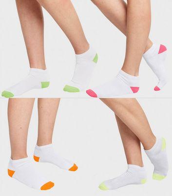 4 Pack White Neon Panel Trainer Socks
