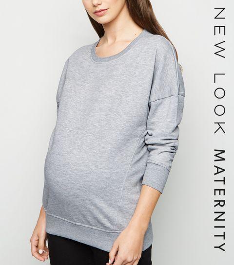eaf8db41d6d ... Maternity Grey Long Sleeve Sweatshirt ...