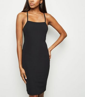 Black Ribbed Lace Up Back Bodycon Dress