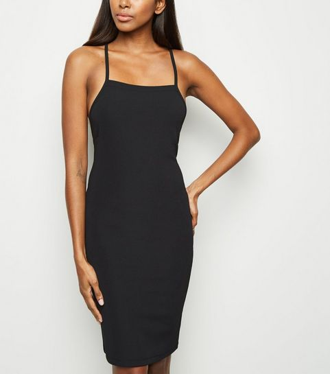 ... Black Ribbed Lace Up Back Bodycon Dress ... 70766f421ba4