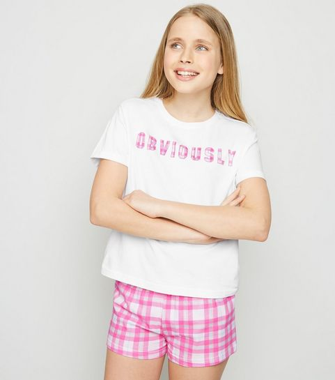 be6f5763bb0 ... Girls White Check Obviously Slogan Pyjama Set ...