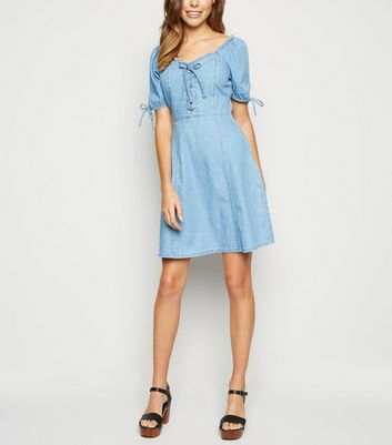 Blue Denim Mini Milkmaid Dress