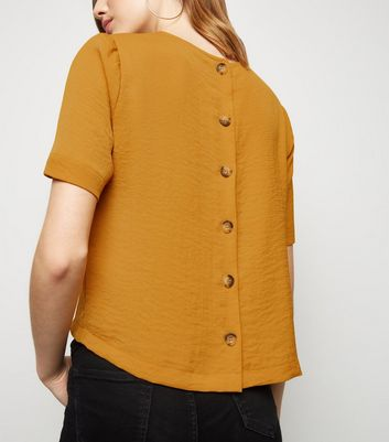 Yellow Button Back Boxy T-Shirt