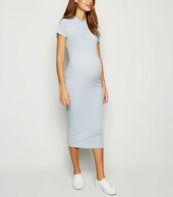 Maternity Pale Blue Ribbed Frill Trim Midi Dress