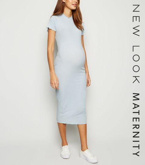 0da4ad0e85d ... Maternity Pale Blue Ribbed Frill Trim Midi Dress ...
