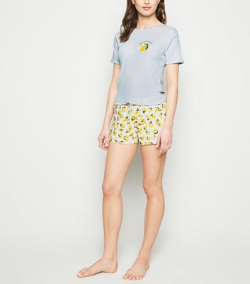 Pale Blue Lemon Slogan Jersey Pyjama Set