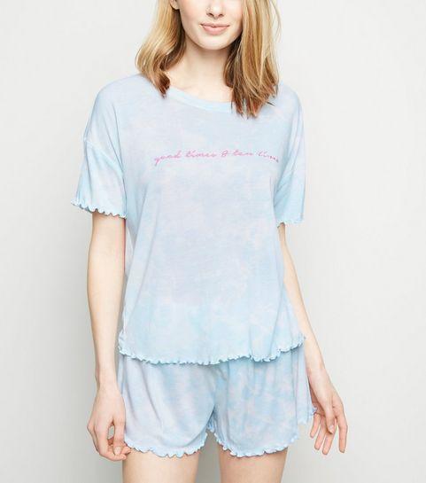 e58d96dd9aebb ... Blue Tie Dye Good Times Slogan Pyjama Set ...