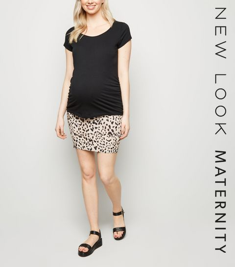 ... Maternity Brown Leopard Print Tube Skirt ... 37f117de0