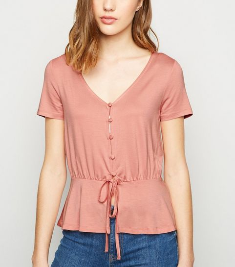 d78a92c0ce ... Mid Pink Button Up Tie Front Top ...