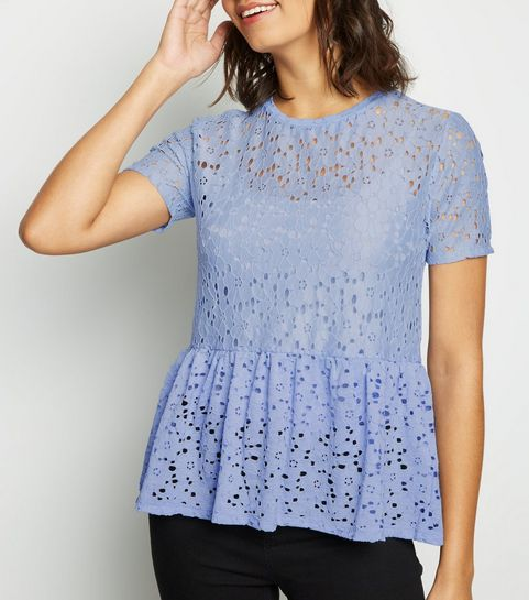 5289cce62c788 ... Pale Blue Lace Peplum T-Shirt ...