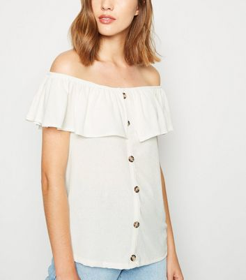 Off White Textured Ruffle Trim Bardot Top