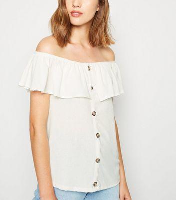 Women's Clothing Size 6 Buy Cheap White Shirring Detail Lace Trim Bardot Top