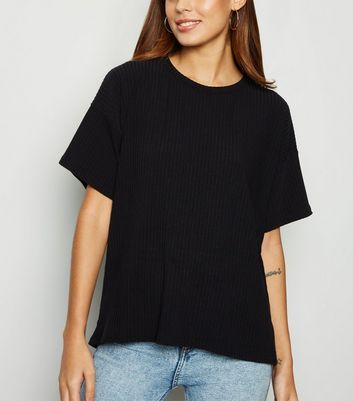 Black Ribbed Boxy T-Shirt