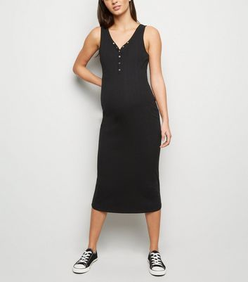 Maternity Black Ribbed Bodycon Midi Dress