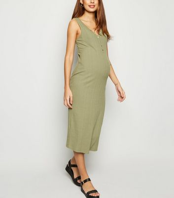 Maternity Khaki Ribbed Bodycon Midi Dress