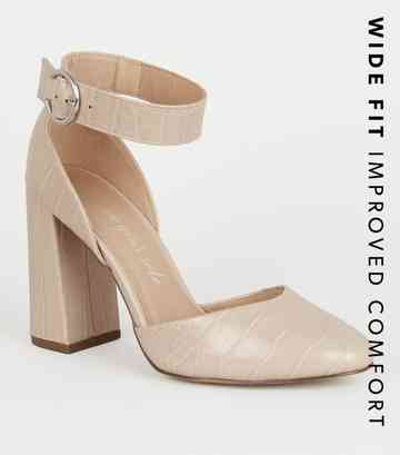 Wide Fit Off White Faux Croc Flared Heels