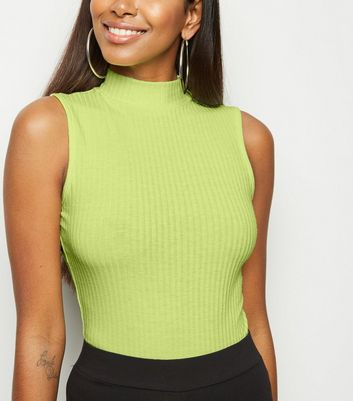 Green Neon Rib Turtleneck Bodysuit