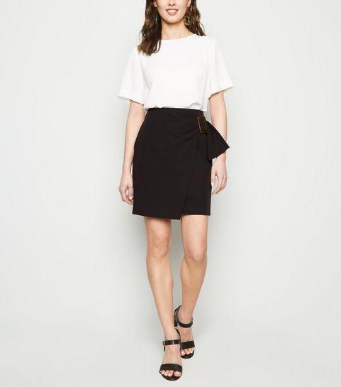ac2e53ac84 ... Black Resin Buckle Wrap Mini Skirt ...