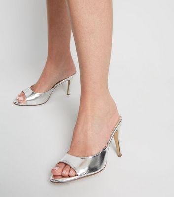 Silver Open Toe Stiletto Mules   New Look