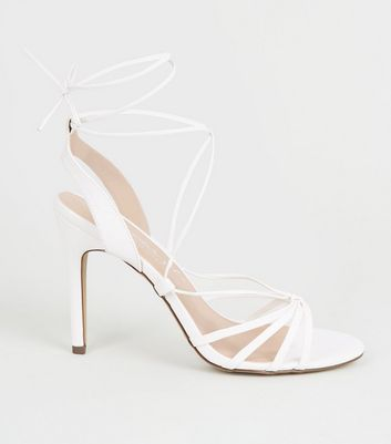 White Strappy Ankle Tie Stilettos