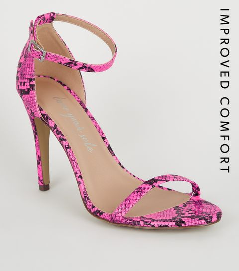 8e7a2b7a664f ... Pink Neon Faux Snake Barely There Stilettos ...