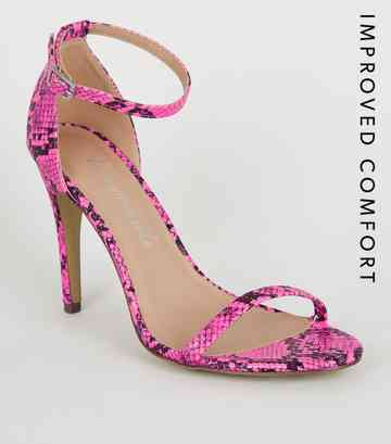 1ad4de72f31e Pink Neon Faux Snake Barely There Stilettos ...