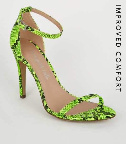 4fd7f02c72ab ... Yellow Neon Faux Snake Barely There Stilettos ...